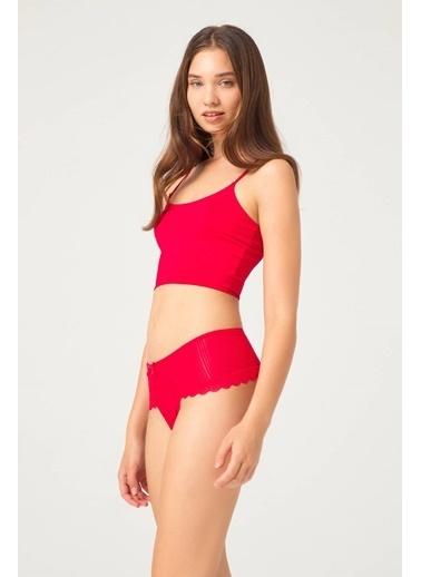 Cottonhill Vişne Çizgi Dantelli Taş Detaylı Kadın Hipster Külot Kırmızı